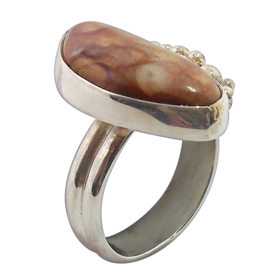 Picture Jasper Ring set in sterling silver, Size 7  r7pje1482