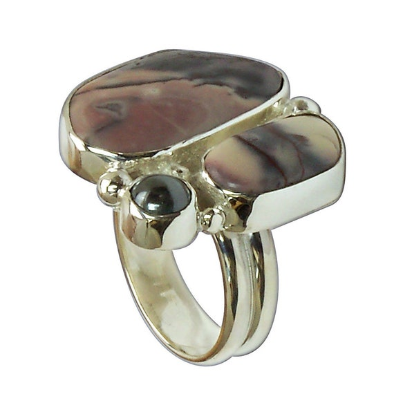 Porcelain Jasper and Hematite Three Stone Ring Set in Sterling Silver, Size 6-1/4  r624porg2971
