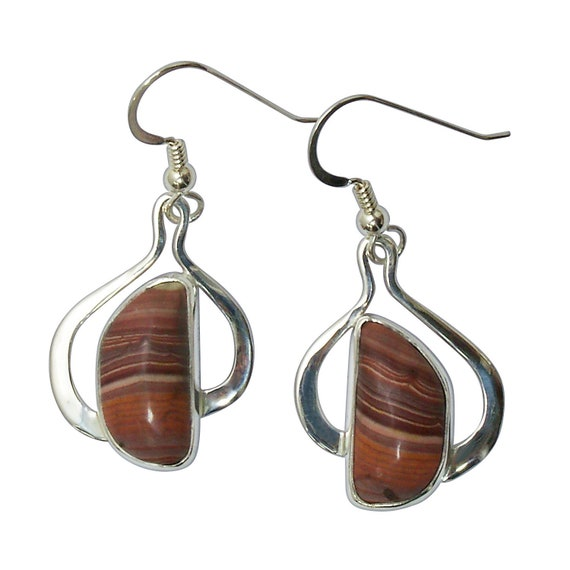Rhyolite and Sterling Silver Dangle Earrings, Mexican Rhyolite  emrye3181