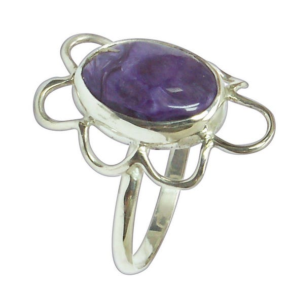 Charoite Ring Set in Sterling Silver, Size 9  r9chtg2832