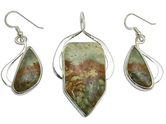 Rocky Butte Picture Jasper and Sterling Silver Pendant and Earring Set  spjj3316