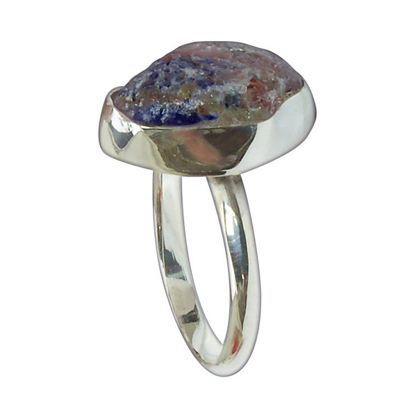 Beach Glass and Sterling Silver Ring, Size 6  r6bgld3088