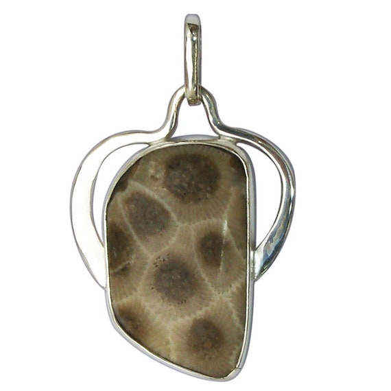 Petoskey Stone Pendant set in Sterling Silver, Hand Crafted, One of a Kind  ppkye3024