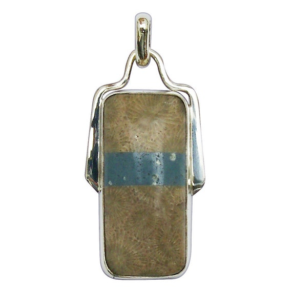 Petoskey Stone  and Leland Bluestone Intarsia Pendant set in Sterling Silver, Hand Crafted, One of a Kind  ppkylbg3062