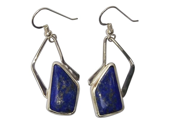 Lapis Lazuli and Sterling Silver Dangle Earrings, elapf3460
