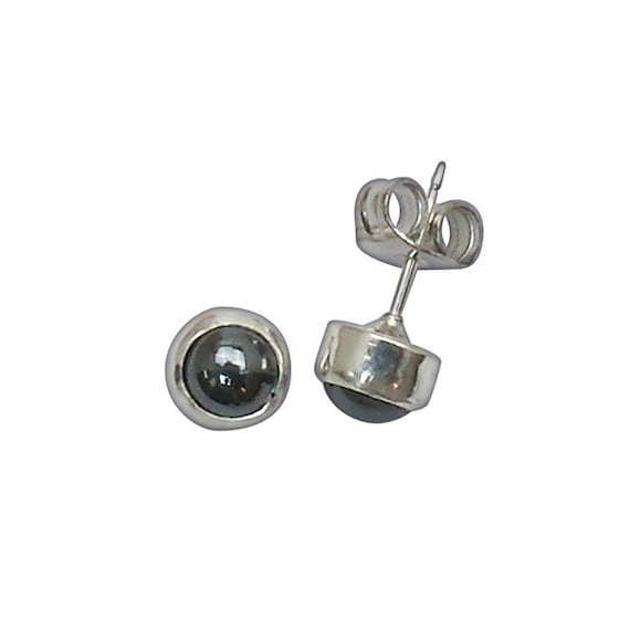 Hematite and Sterling Silver Post Earrings  ehemb2945