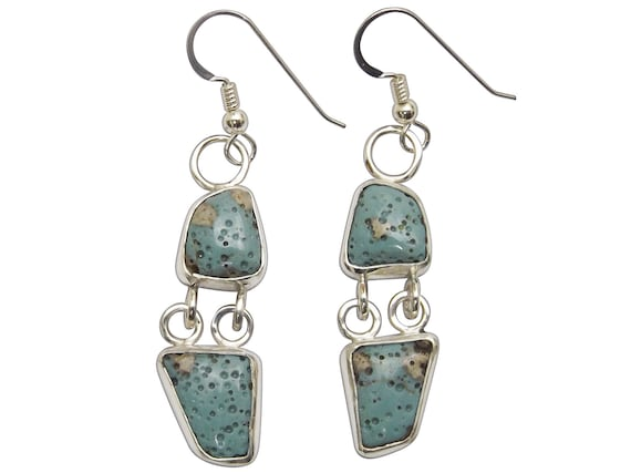 Leland Blue Stone and Sterling Silver Two Stone Dangle Earrings  elbsg3328