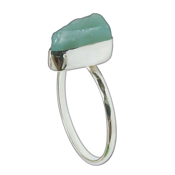Blue Sea Glass and Sterling Silver Ring, Size 7  r7sglc3077