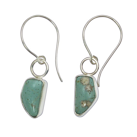 Leland Bluestone and Sterling Silver Dangle Earrings, Hand Crafted One of a Kind  elbse3093