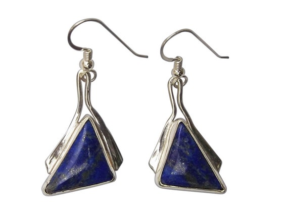 Lapis Lazuli and Sterling Silver Dangle Earrings, elapf3458