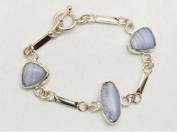 Blue Lace Agate and Sterling Silver Three Stone Link Bracelet, Size 6-3/8  bblaj3333