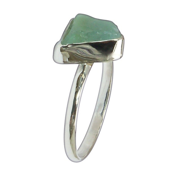 Blue Sea Glass and Sterling Silver Ring, Size 7-1/8  r7125sglc3080