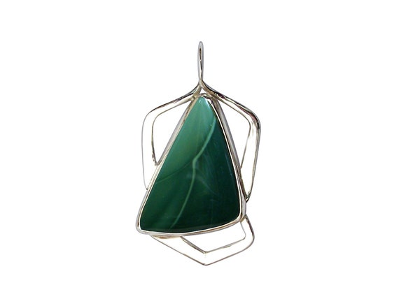 Green Imperial Jasper and Sterling Silver Pendant  pimpg3279