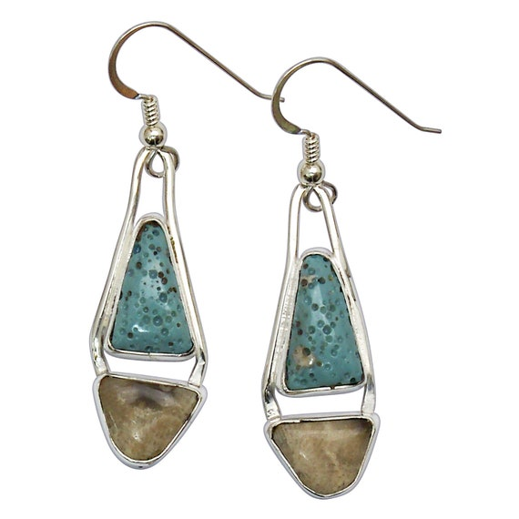 Leland Bluestone and Petoskey Stone Sterling Silver Dangle Earrings, Hand Crafted One of a Kind  epklbf3152