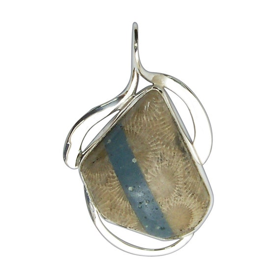 Petoskey Stone and Leland Bluestone Intarsia Pendant set in Sterling Silver, Hand Crafted, One of a Kind  ppkylbj3210
