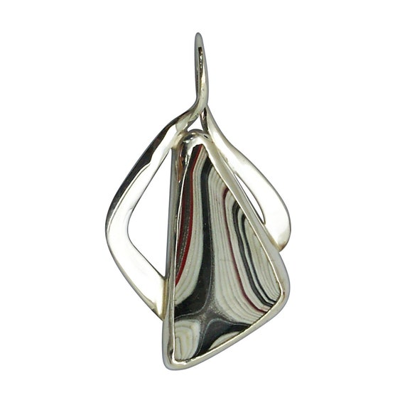 Fordite and Sterling Silver Pendant, pfrdg3224