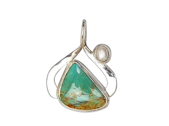 Kingman Turquoise and Sterling Silver Pendant with Pearl Accent pturj3452