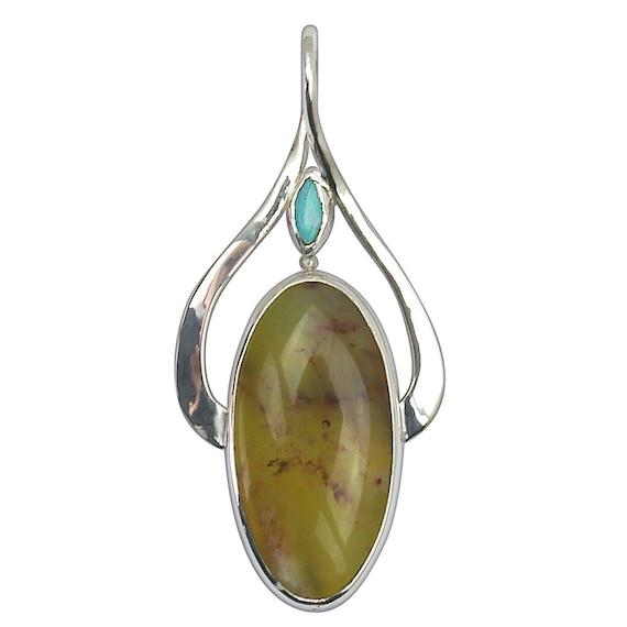 Green Australian Opalite, Precious Opal and Sterling Silver Pendant, poplh2518