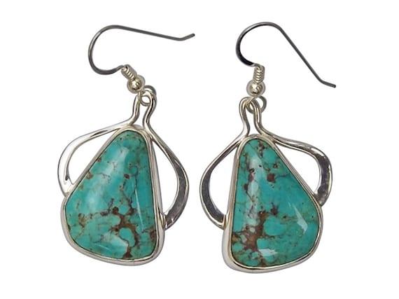 Kingman Turquoise and Sterling Silver Earrings  eturh3444