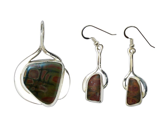 Cherry Creek Jasper and Sterling Silver Pendant and Earring Set  scckj3304
