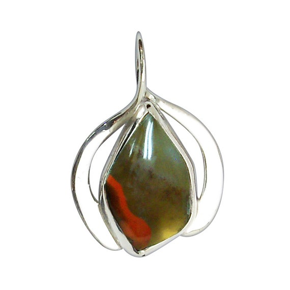 Kentucky Ribbon Agate and Sterling Silver Pendant  pkae3235