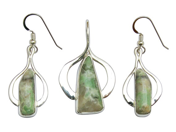 Variscite and Sterling Silver Pendant and Earring Set,  svstj3313