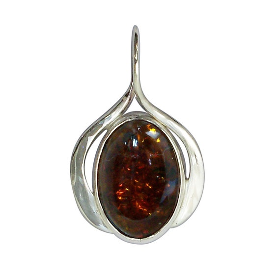 Amber Pendant set in Sterling Silver  pambe3187b