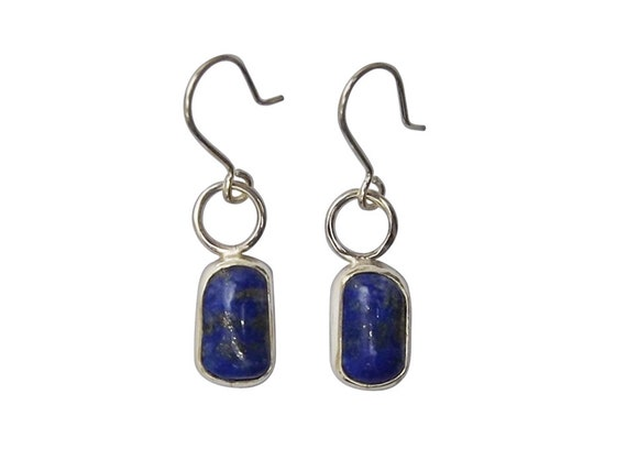 Lapis Lazuli and Sterling Silver Dangle Earrings, elapd3455