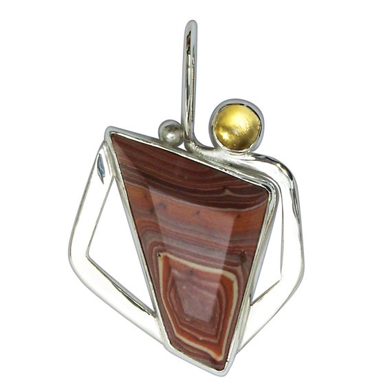 Rhyolite, Citrine and Sterling Silver Pendant, Mexican Rhyolite  prmyh3180