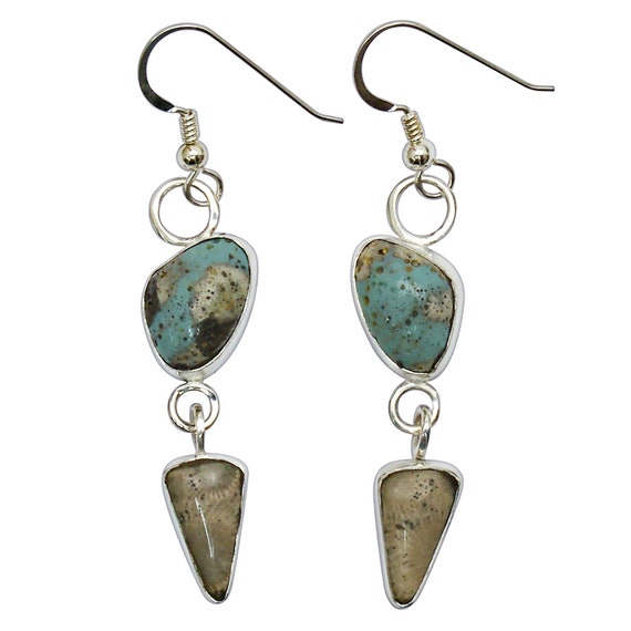 Leland Bluestone and Petoskey Stone Sterling Silver Dangle Earrings, Hand Crafted One of a Kind  epklbf3153
