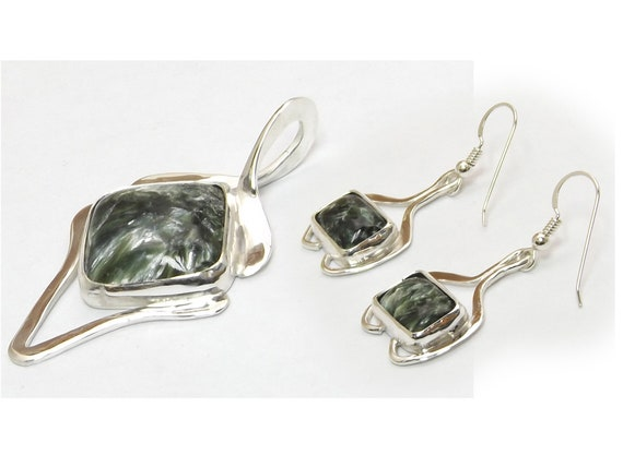 Seraphinite Pendant and Earring Set created in Sterling Silver  sserj3336