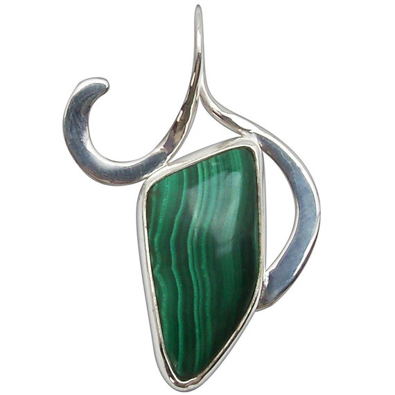 Malachite and Sterling Silver pendant  pmalf2492
