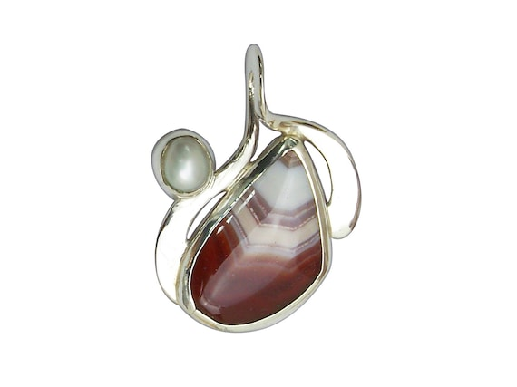 Rare Laguna Agate, Fresh Water Pearl and Sterling Silver Pendant, plagh3309