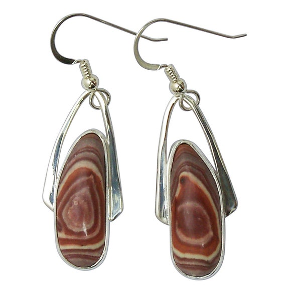 Rhyolite and Sterling Silver Dangle Earrings, Mexican Rhyolite  emrye3182