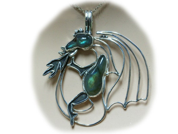Labradorite and Sterling Silver Fire Breathing Dragon Pendant  plabj3268