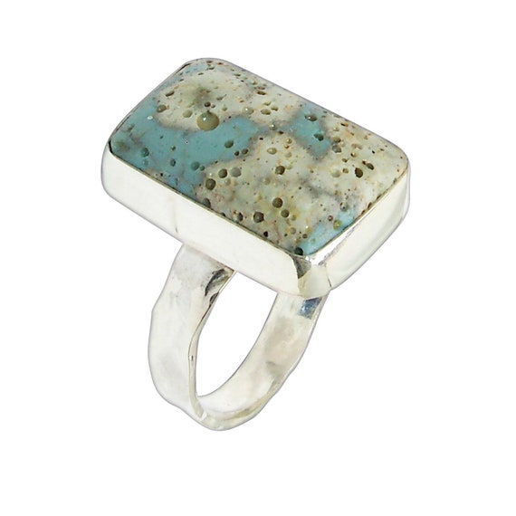 Leland Blue Stone and Sterling Silver Ring, Hand Crafted One of a kind, Size 7-1/2  r75lbsf3099