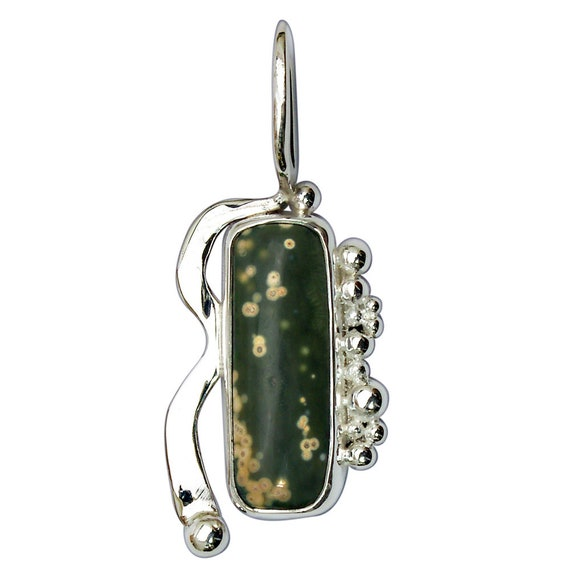 Ocean Jasper and Sterling Silver Pendant  pocjf2993
