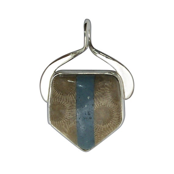 Petoskey Stone and Leland Bluestone Intarsia Pendant set in Sterling Silver, Hand Crafted, One of a Kind  ppkylbh3203