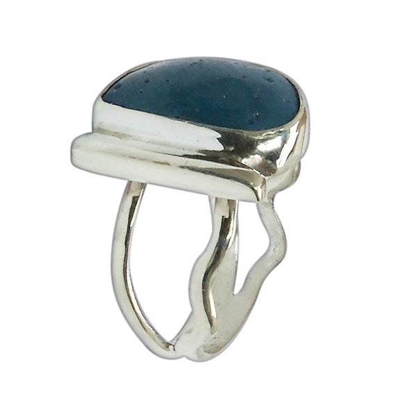 Leland Blue Stone and Sterling Silver Ring, Hand Crafted One of a kind, Size 6-1/4  r625lbsf3017