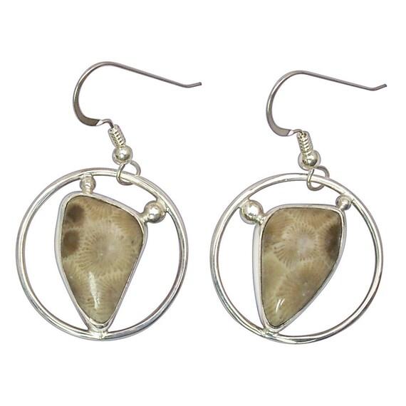 Petoskey Stone Dangle Earrings set in Sterling Silver  epkyf3065