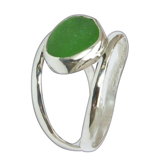 Sea Glass and Sterling Silver Ring, Size 7  r7sgld3075