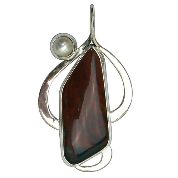 Bloodstone and Pearl Pendant Set in Sterling Silver  pbsj2849