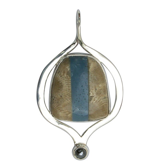Petoskey Stone and Leland Bluestone Intarsia Pendant set in Sterling Silver, Hand Crafted, One of a Kind  ppkylbk3212