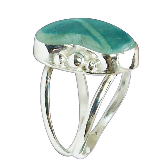 Blue Beach Glass and Sterling Silver Ring, Size 7-1/4  r725bgld3084