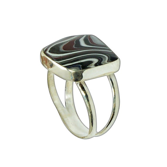 Fordite and Sterling Silver Ring, Size 6-1/4  r625frdf3214