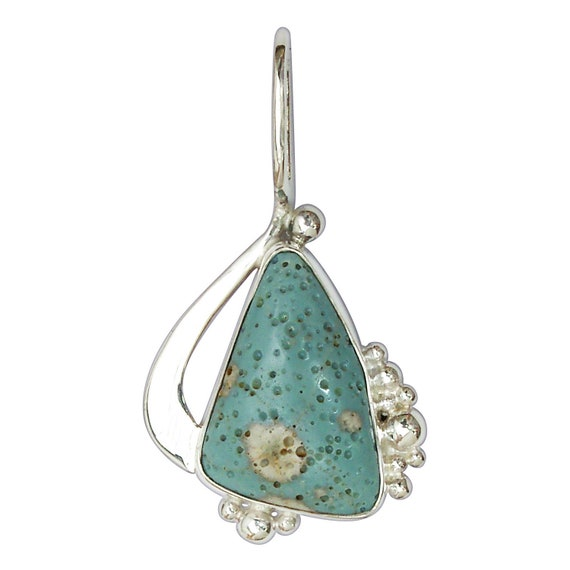 Leland Bluestone Pendant set in Sterling Silver, Hand Crafted, One of a Kind  plbsg3096