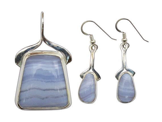 Blue Lace Agate and Sterling Silver Pendant and Earring Set  sblaj3305