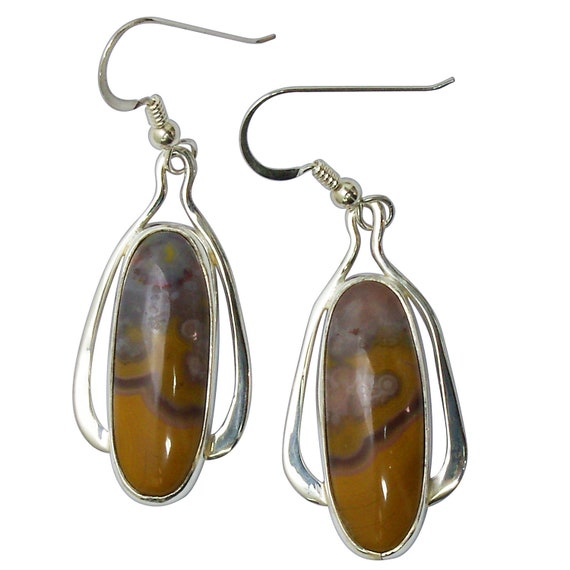Kentucky Agate and Sterling Silver Dangle Earrings  ekaf3159