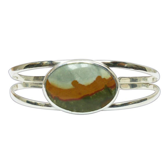 Picture Jasper and Sterling Silver Cuff Bracelet, bpjj2857