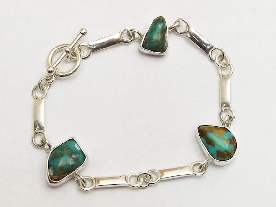 Kingman Turquoise and Sterling Silver Three Stone Link Bracelet, Size 6-7/8  bturj3334